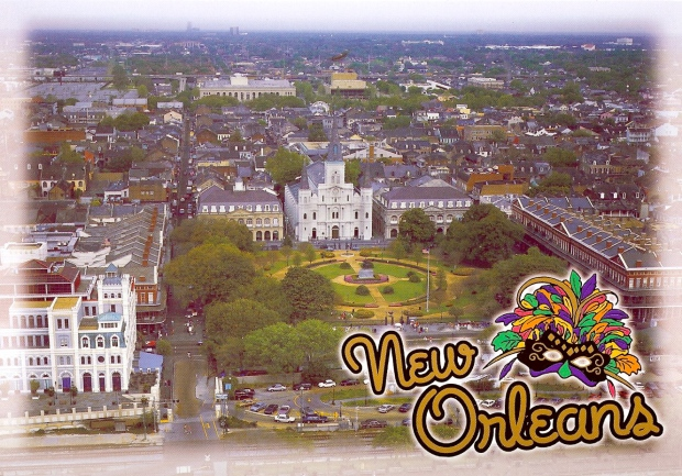 Aerial View of the French Quarter in New Orleans.  Interestingly, this was sent to a swap-bot who lives in Alabama but wants to move to New Orleans some day.