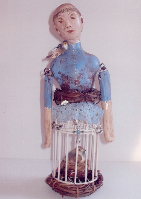 """Santos Cage Doll, Protector of the Birds,"" hand-sculpted over paper mache base, 9-10 inches"
