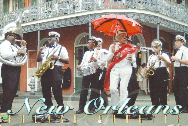 """Second Line Jazz Band.""  New Orleans musicians perform on street corners.  At funerals and celebrations alike, the audience frequently joins in to ""second line, dancing as they follow the jazz band through the streets.  Photo by Werner J. Bertsch"