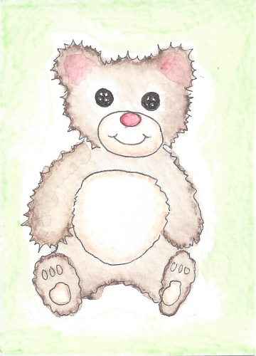 """My Teddy Bear."" Artist: Christy Turner.  Medium: art pen and watercolor paint"