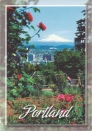 Mount Hood and the heart of downtown Portland, Oregon are framed by the beautify of WAshington Park's Rose Test Gardens.