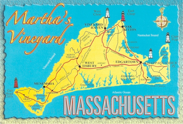 """Martha's Vineyard, Massachussetts.""  The popular island resort of  is located approximately 6 miles off the coast of Cape Cod  the island is approximately 25 miles long and 7 miles wide at its extreme width."