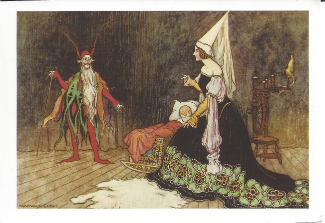 "Warwick Goble (1962-1943).  ""Are you not sometimes called Rumpelstilzchen?"" for The Fairy Tale Book by Dinah Mulock Craik, 1913. from Goble's Fairy Paintings: 24 Art Cards"