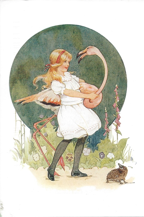 """Alice succeeded in getting her flamingo's body tucked away, comfortably enough, under her arm, but generally just as she had got its neck nicely straightened out, it would twist itself round and look up into her face.  From Lewis Carroll's Alice in Wonderland.   Illustration by Margaret Tarrant."