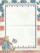 Patriotic Teddy Bear Note Sheets