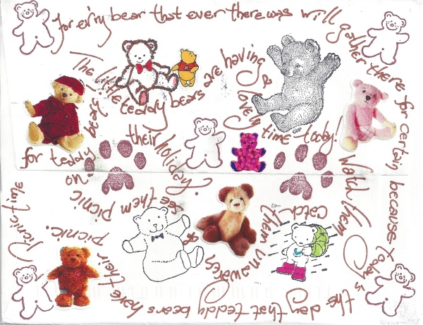 Teddy Bear Mail Art (back) by CarlaDMG