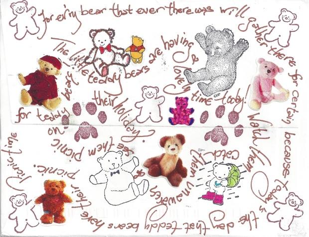 Teddy Bear Mail Art (back) by CarlaDMG