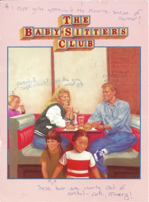 From the cover of Dawn and the Older Boy, Baby-Sitters Club #37. Sent with the amusing commentary added by Postcrosser Amy.