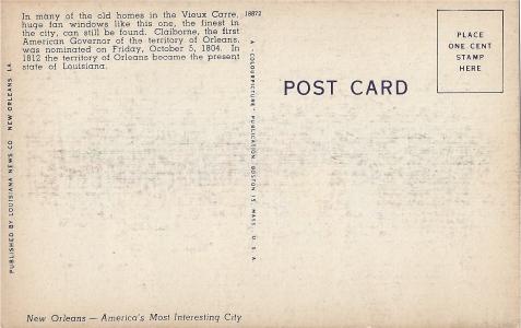 New Orleans Vintage Postcards Back