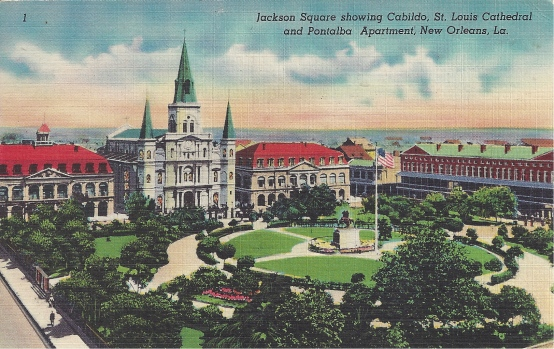 Jackson Square, showing the Cabildo, the St.Louis Cathedral, and Pontalba Apartments, New Orleans, Louisiana