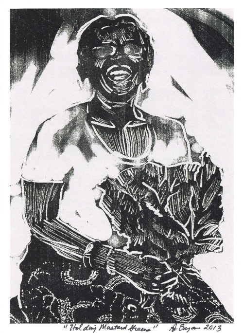 """Woman Holding Mustard Greens,"" by Amy Bryan, Visual Artist"