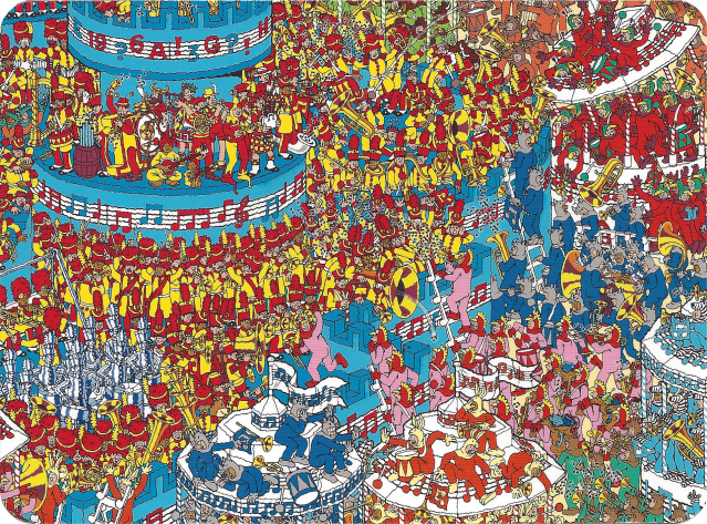 """The Battle of the Bands,"" scene from Where's Wally The Wonder Book by Martin Handford"