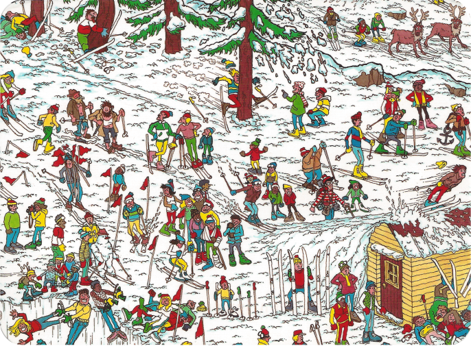 """Ski Slopes,"" scene from Where's Waldo? Illustration by Martin Handford"