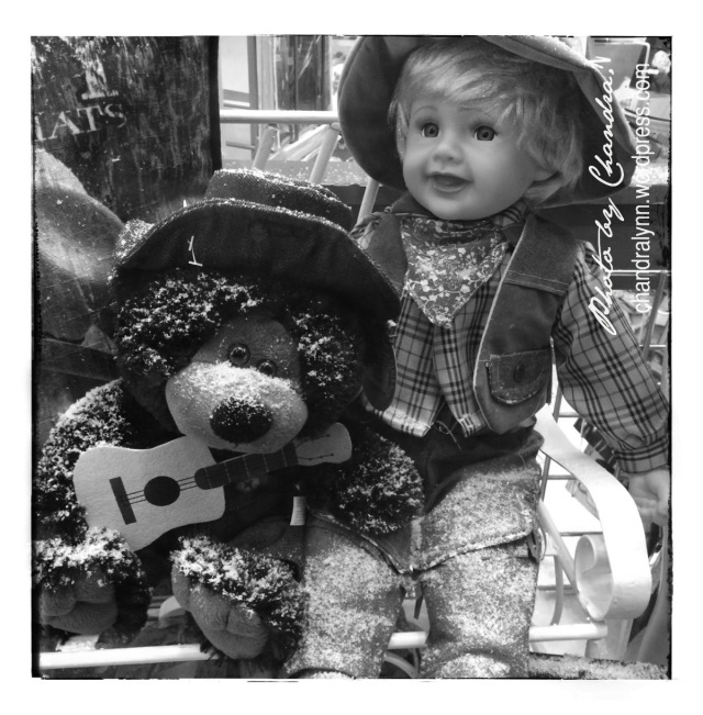 Honky Tonk Bear and Boy in Black and White