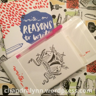 Package from Write_On: Notecards, Stationery, Pen, Stickers, and a beautifully designed booklet