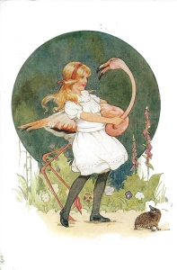 "Week 2b: From Jenny (USA). Illustration by Margaret Tarrant. ""Alice succeeded in getting her flamingo's body tucked away, comfortably enough under her arm, but generally just as she had got its neck nicely straightened out, it would twist itself round and lookup into her face."" Lewis Carroll's Alice in Wonderland."