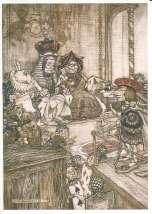 "Week 29: From Natasa (Australia). Illustration by Arthur Rackham. ""Who Stole the Tarts?"" _Alice in Wonderland_."
