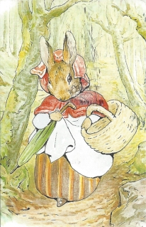 """Week 96: From Pam (USA): Illustration by Beatrix Potter from _The Tale of Peter Rabbit_, 1902. Mrs. Rabbit in the woods. """"Old Mrs Rabbit took a basket and her umbrella, and went through the wood to the baker's."""""""