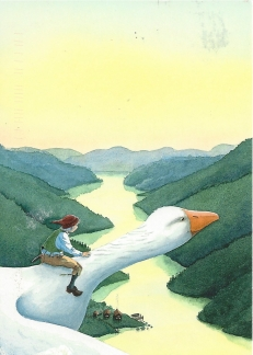 Week 80: From Ina (Netherlands). Illustration by Lars Klinting for Nils Holgerssons underbara resa genom Sverige (The Wonderful Adventures of Nils Across Sweden) by Selma Lagerlöf.
