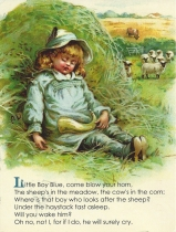 "Week 113: From Pam (USA). Vintage illustration from the nursery rhyme ""Little Boy Blue."""