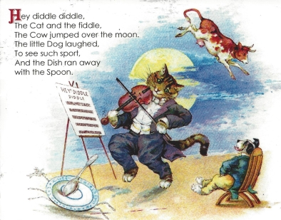 "Week 119: From Pam (USA). Vintage illustration from the classic nursery rhyme ""Hey Diddle Diddle."""