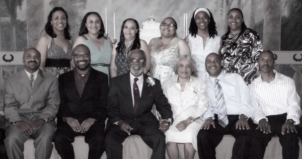 Mom and Dad with all their children at their 50th wedding anniversary, 2008.