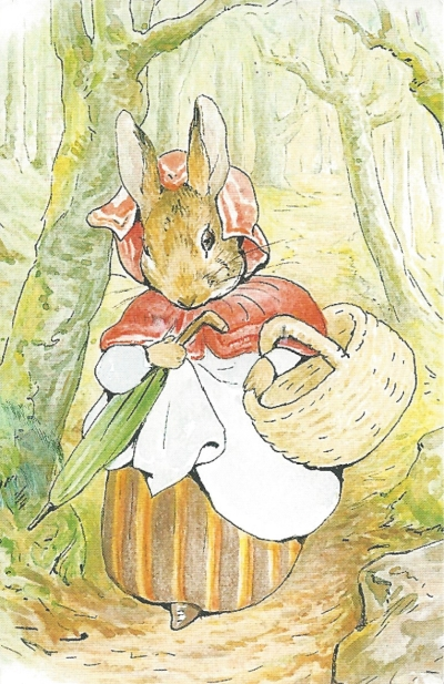 BLC PC #5: From Jeepermom (USA)--From the Tale of Peter Rabbit, 1902. Mrs. Rabbit in the woods.