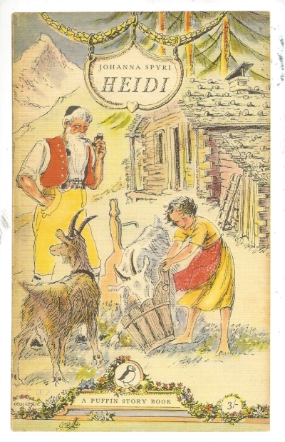 BLC PC#9: From Sarah (USA)--Heidi by Johanna Spyri, 1956. Cover illustration by Cecil Leslie. Puffin.