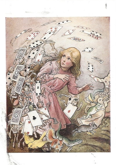 "Public #9: From Jennifer (USA). From Alice in Wonderland by Lewis Carroll. Illustration by George Soper. ""At this the whole pack rose up into the air, and came flying down upon her."""