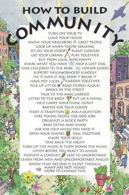 """""""How to Build a Community,"""" Text by members SCW Community. Karen Kerney, watercolor and colored pencils."""