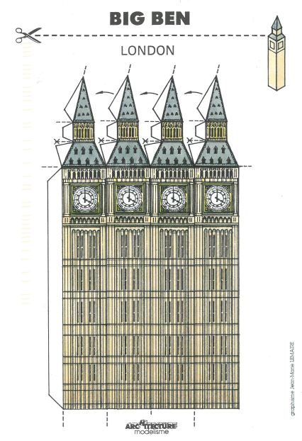 """Clock Tower (Big Ben) House of Parliament (1858). Architects: Sir Charles Barry, A.W.N. Pugin. 3-D Postcard"