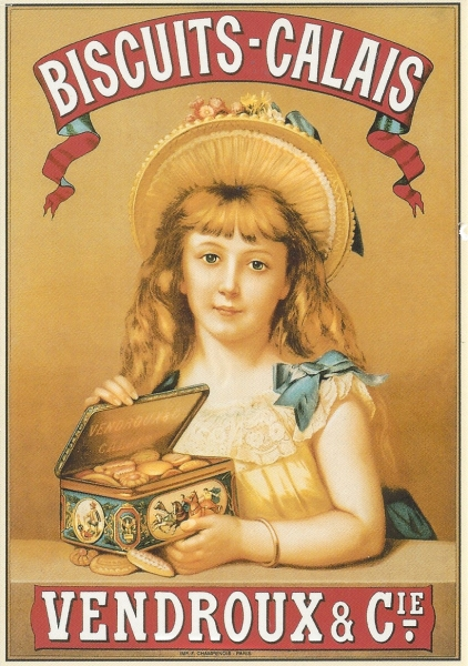 "Reproduction of a beautiful chromo-lithograph produced at the beginning of the 20th century for Ets Vendors which at that time made ""Calais"" biscuits. Printer: F. Champenois, Paris. Source: Private collection."