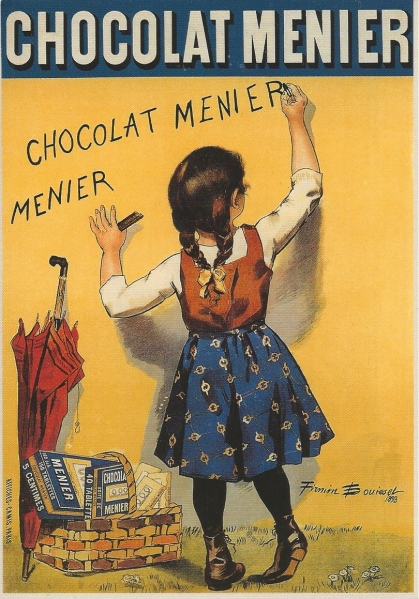 "Reproduction of a famous and original charm-lithography of 1893 designed by the artist Firmin Bouisset for the ""Chocolat Menier."" Printer: Offices Camis Paris. Source: Private Collection."