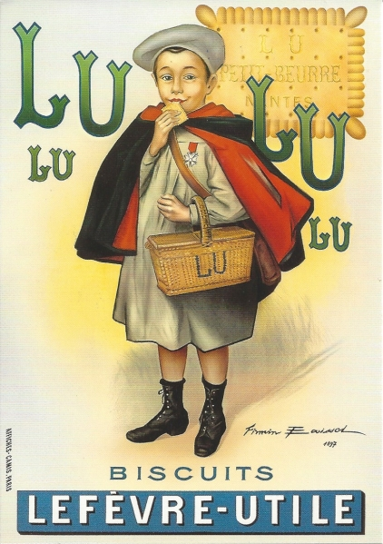 "Reproduction of an original chromo-lithograph of 1897 designed by the artist Firmin Bouisset for ""biscuits Lu"" (Lefevre Utile). Printer: Offices Camis Paris. Source: Private collection."