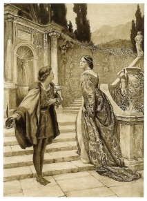 From Twelfth Night. Conversation between Olivia and Viola. Frontispiece illustration by Hon. John Collier (1850-1934) from The Complete Works of William Shakespeare, vol XI: Twelfth Night, or What you Will (New York, 1907).