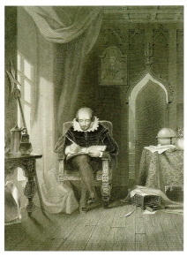 William Shakespeare (1564-1616) writing in his study. Engraving by A.H. Payne, after L. Hicks. London: Bram & Payne. Prints and Photographs Division.