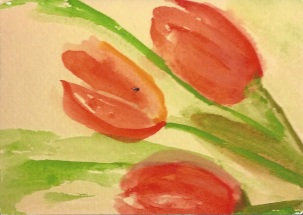 Tulips Watercolor by Christine B.