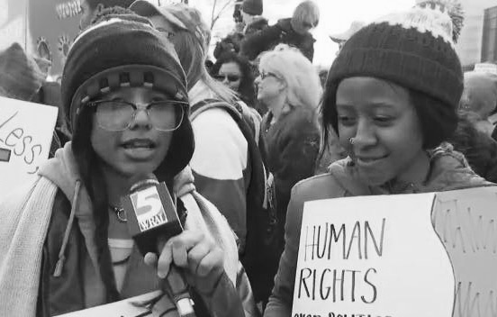 With Erin at the Moral March in Raleigh, North Carolina--being interviewed by WRAL