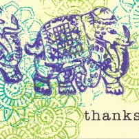 """Elephants,"" altered greeting card by Christine B."
