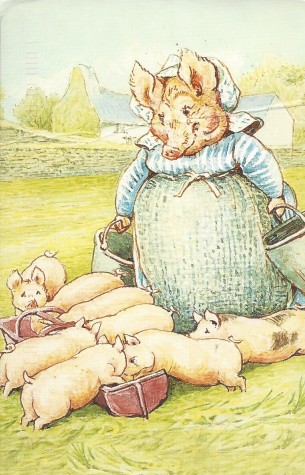 "From The Tale of Pigling Brand, 1913. Aunt Pettitoes and her piglets. ""And they drink bucketfuls of milk; I shall have to get another cow!"""